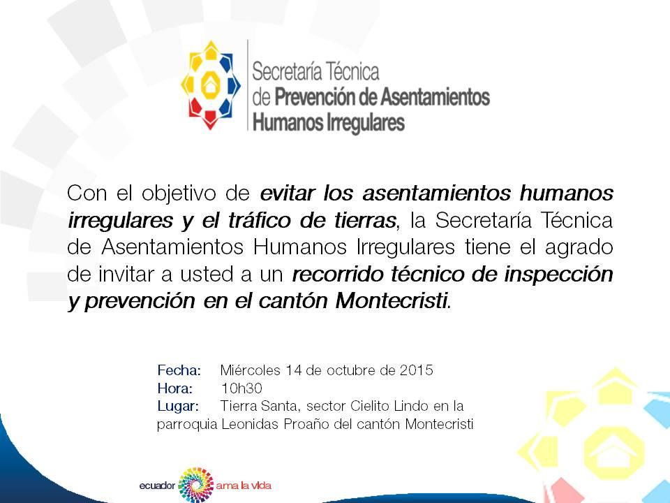 Invitación a recorrido SECRETRIA TECNICA DE ASENTAMIENTOS IRREGULARES
