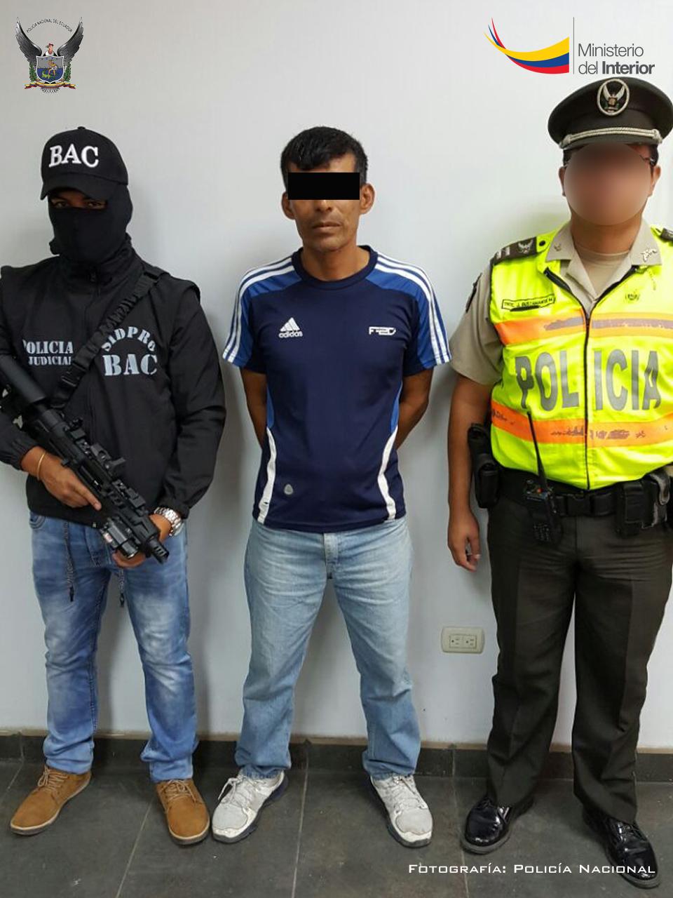 La Policía Nacional, recapturó en Manta a Segundo Bolívar M.A., presunto prófugo del Rodeo