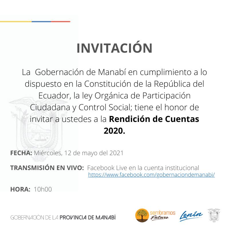 INIVTACIÓN A RENDICIÓN DE CUENTAS 2020